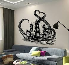 Chandelier Wall Stickers Vinyl Wall Decal Kraken Octopus Ship Nautical Ocean Teen Room