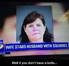 Wife Husband Meme - wife stabs husband with squirrel weknowmemes