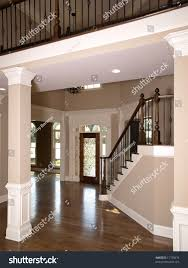luxury foyer ornate stained glass door stock photo 11730676