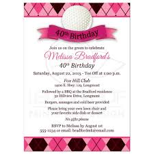 Invitation Card For A Birthday Party 40th Birthday Party Invitation Golf Theme Pink Black White