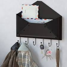 Entryway Wall Organizer Cocoa Double Mail Letter Holder Wood Wall Mount Key By Pigandfish