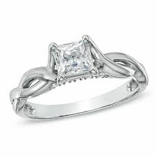 zales wedding rings for 1 ct t w princess cut twist shank engagement ring in 14k