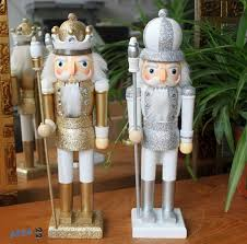 35cm gold silver nutcracker wood made ornaments