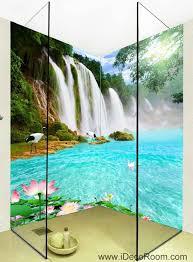 3d wallpaper waterfall lilypad lotus wall murals bathroom decals