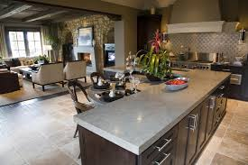 Kitchen With L Shaped Island Wonderful L Shaped Kitchen Island Decorating Idea With Living Room