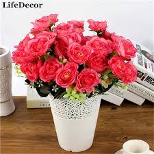Silk Flower Plants - silk artificial flowers 6 heads auspicious big roses european