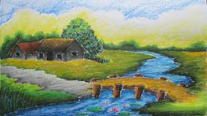 How To Draw Landscapes by Pastel Tutorial How To Draw A Village Landscape With Oil Pastels