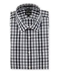 neiman marcus no iron trim fit plaid dress shirt in black for men