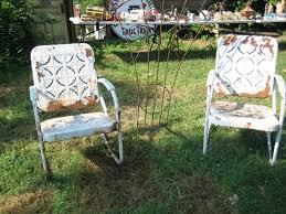 vintage 1940 u0027s metal patio set glider u0026 2 bouncy chairs pie crust