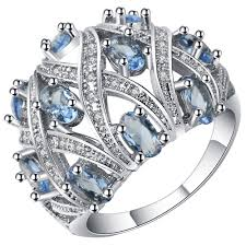 Big Wedding Rings by Full Blue Crystal Big Wedding Rings For Women Romantic Ring Bague