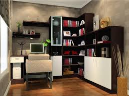 small office beautiful home office render with dark brown