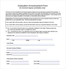 college graduation announcements templates sle graduation announcement template 8 free documents in pdf word