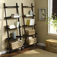 Leaning Bookcase White by Furniture Black Wood Leaning Bookcase With Wicker Hamper On Lowes