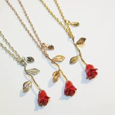 gold red rose necklace images Beauty and the beast rose necklace red rose pendant red rose etsy jpg