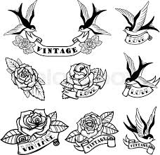 new school tattoo drawings black and white set of tattoo templates with swallows and roses old school tattoo