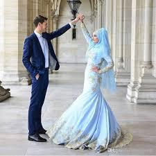 muslim engagement dresses muslim sky blue evening dress mermaid sleeve formal