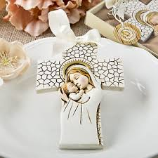 ornament favors 100 madonna and child cross ornament religious baptism christening