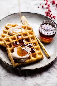 smoky chorizo haloumi and spinach breakfast waffles from donna