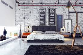 interior spacious industrial bedroom design alongside ivory