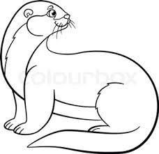 coloring pages little cute baby otter stands and smiles stock