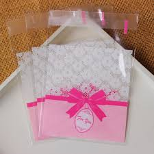gift plastic wrap pink bowknot self sealing wrapping bags cookies snacks party favor