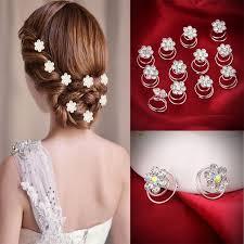 hair flower 12pc hair decor rhinestone flower hair hairpins