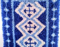 Royal Blue And White Rug Mod Rug Etsy