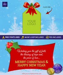 merry christmas u0026 happy new year greeting card animations