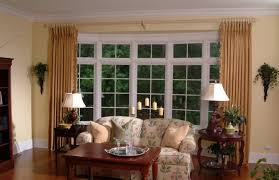 idyllic bay window decorations with lined glass windows and