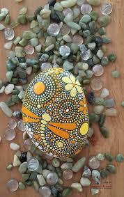 hand painted dragonfly stone art rock art mandala inspired