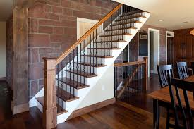 Wood Banister Wood Handrail Staircase Traditional With Black Metal Banister