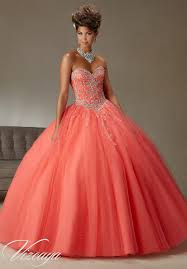 quinceanera dresses coral quinceanera dress coral tulle gown with beading quinceanera