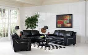 Top Grain Leather Living Room Set by Black Leather Living Room Set Martino Black 6 Pc Leather Power