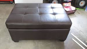 Large Ottoman With Storage Furniture Chocolate With Tufted Leather Storage Ottoman For