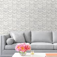 Peal And Stick Wall Paper Herringbone Peel And Stick Wallpaper Warm Gray In An Instant Art