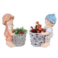 set of two u0026 boy firgurine statue with planter pot
