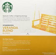Most Ridiculous Starbucks Order by Starbucks Veranda Blend Blonde K Cup For Keurig Brewers 16 Count