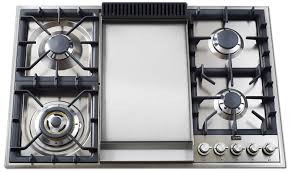 Hybrid Gas Induction Cooktop Kitchen Gas Cooktop With Griddle Range Center Stove And Double
