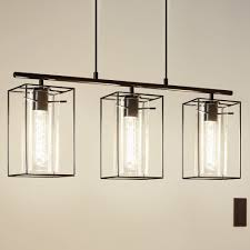 Black Pendant Light Eglo 49496 Loncino Triple Pendant Light In Black With Smoked Glass