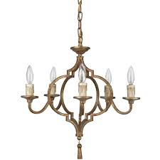 Country French Chandelier by Coraline French Country Antique Gold Arabesque 5 Light Chandelier