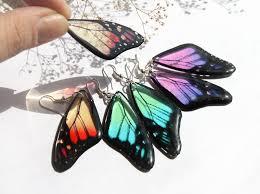 eco friendly earrings butterfly earrings transparent resin jewelry butterfly wings
