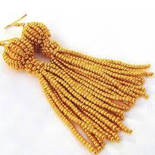 24 carat gold beaded tassel earrings weir jewellery