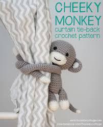 crochet monkey curtain tie back pattern left or right side