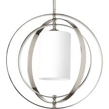 Glass Orb Pendant Light Progress Lighting Equinox Collection 1 Light Polished Nickel