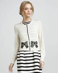 nanette lepore lyst nanette lepore pearl river beaded bow cardigan in white