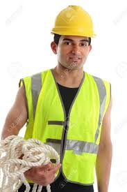 Construction High Visibility Clothing A Builder Tradesman Or Construction Worker Wearing A Hard Hat