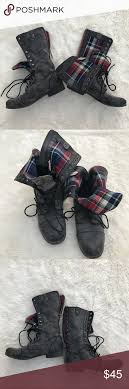 womens combat boots size 11 madden galleria plaid zip combat boots front lace mid calf