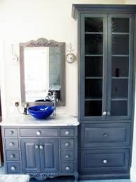 bathroom vanities with linen tower and antique brown wooden also