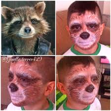 Halloween Animal Makeup Rocket Raccoon From Guardian Of The Galaxy Makeup On My Son This