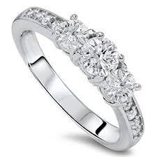 3 engagement ring 1ct diamond 3 three engagement ring 10k white gold